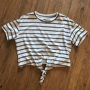 Striped crop top w/ tie front